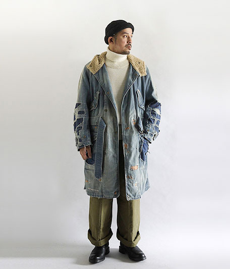 ANACHRONORM Damaged Denim Hooded Coat