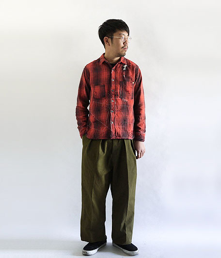 ANACHRONORM Damaged Ombre Plaid Work Shirt