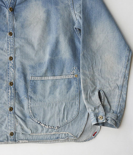 ANACHRONORM Damaged Denim Shirt-Cardigan