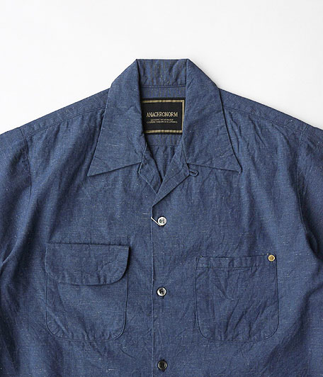 ANACHRONORM Chambray Open Collar Shirt