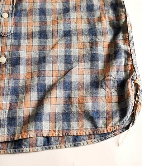 ANACHRONORM Clothing Indigo Plaid Regular Fit S/S B.D Shirt PURPULE PL
