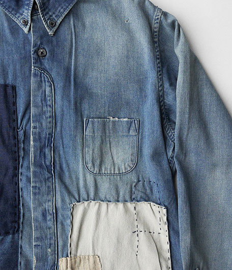 H.UNIT STORE LABEL Fly Front  Denim Shirt Customized