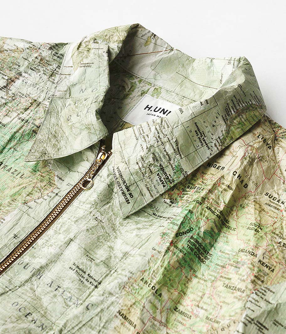H.UNIT STORE LABEL Tyvec world map zip work jacket