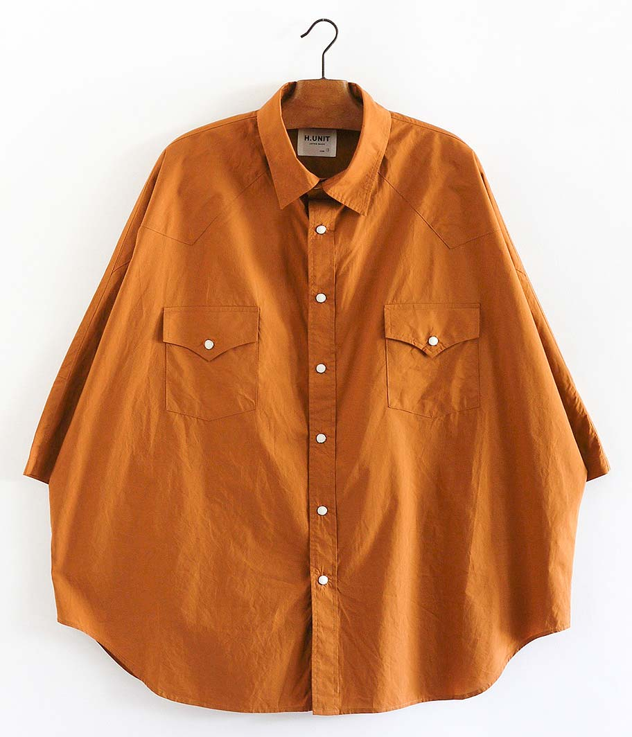 H.UNIT STORE LABEL Typewriter Western Dolman Short Sleeves Shirt