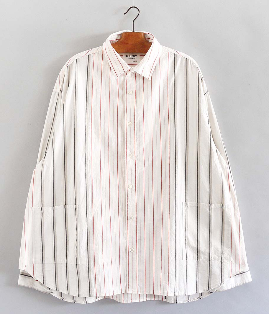 H.UNIT STORE LABEL Stripe Crazy Wide Long Sleeves Shirt
