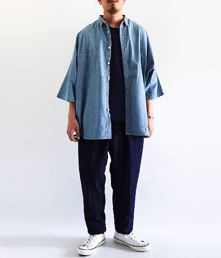 H.UNIT STORE LABEL Chambray Dolman Short Sleeve Shirt