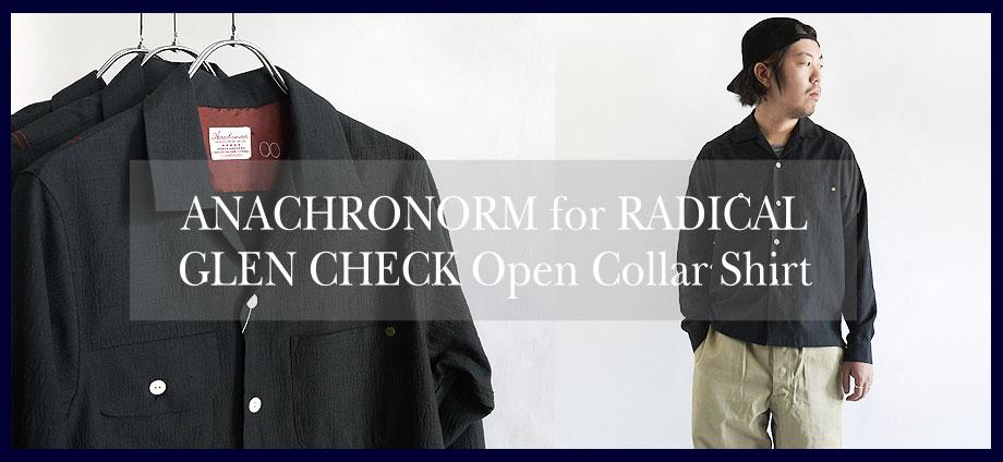 ANACHRONORM RADICAL���� GLEN CHECK Open Collar Shirt
