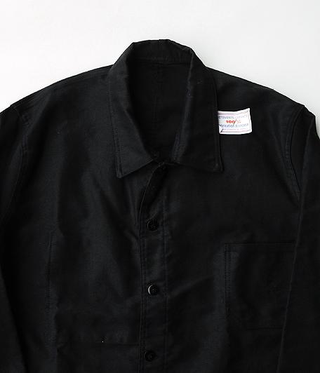 ブラックモールスキンフレンチワークジャケット[Dead Stock]
