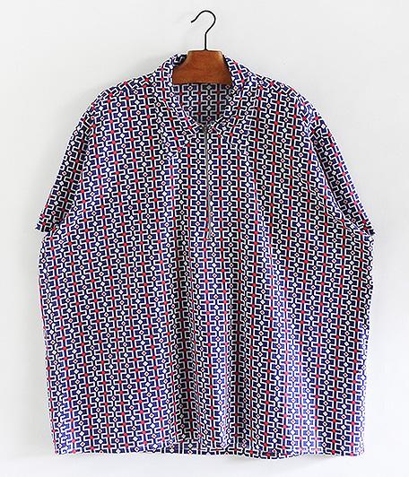 70's ジオメトリックパターンハーフジップシャツ