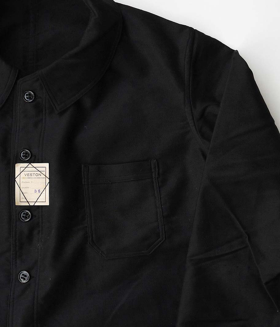 40's-50's ブラックモールスキンフレンチワークジャケット [Dead Stock]