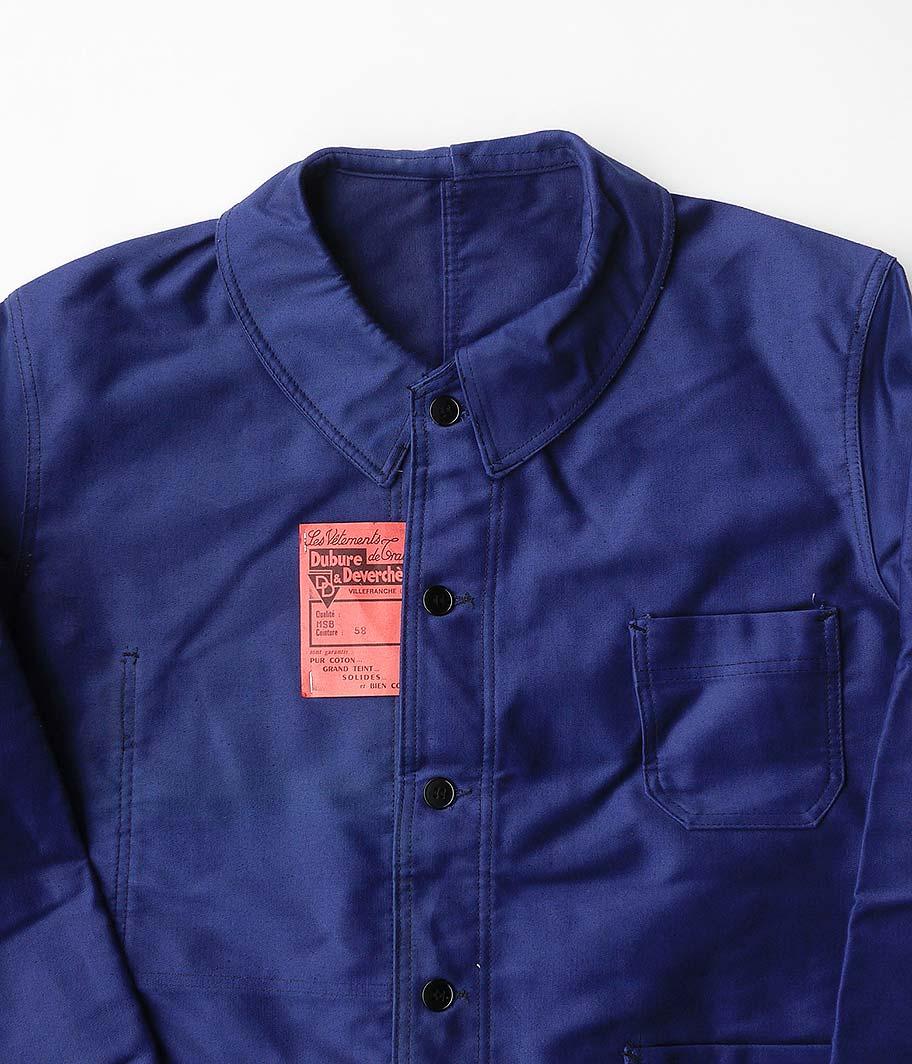 50's ブルーモールスキンフレンチワークジャケット [Dead Stock]
