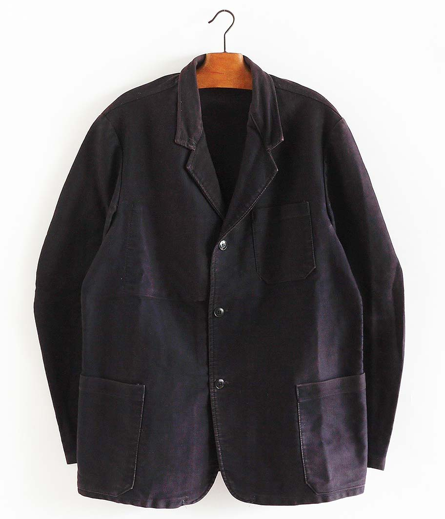 ブラックモールスキンフレンチワークジャケット