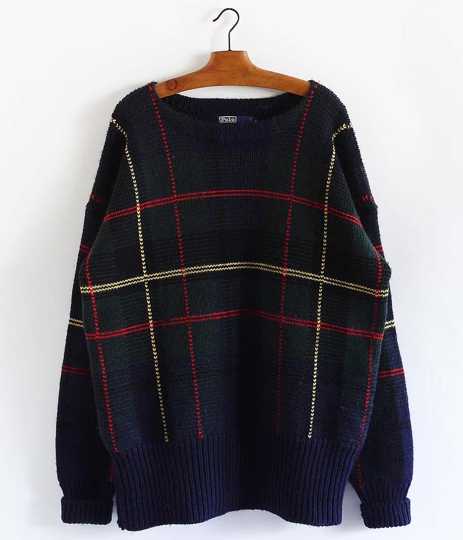 Ralph Lauren チェック柄ボートネックセーター