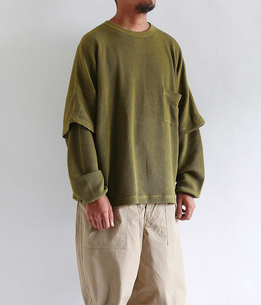 WELLDER Dolman Layered Sleeve Crewneck